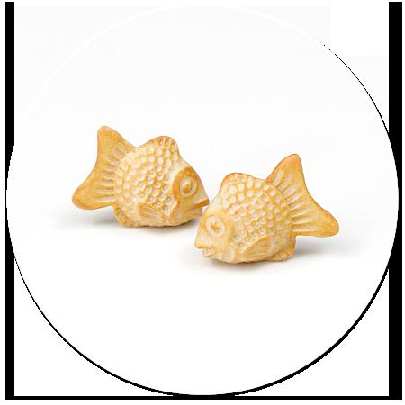kolczyki wtykane ciasteczka rybki