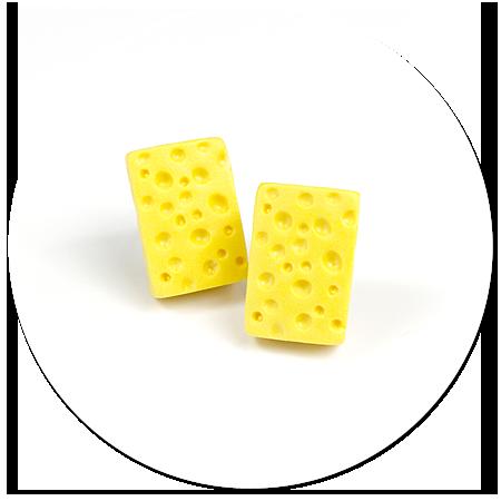 kolczyki wtykane żółty ser