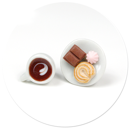 kolczyki wtykane kawa ze słodyczami nr 5