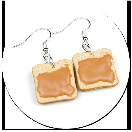 kolczyki tosty z masłem orzechowym