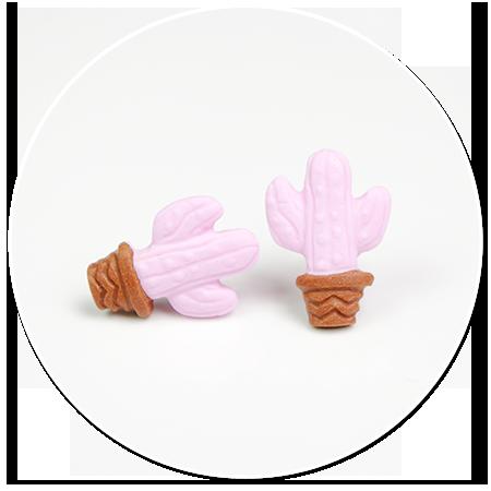 kolczyki kaktusy różowe