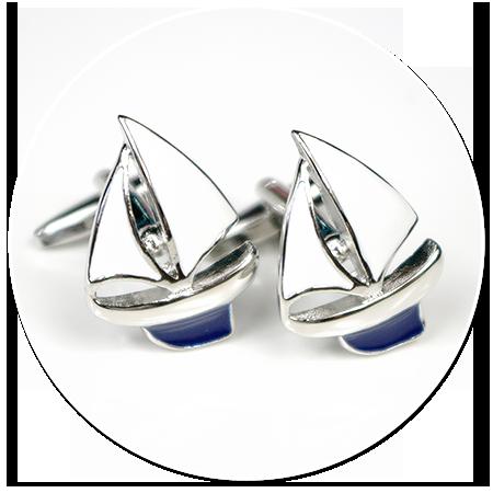 spinki do mankietów dla żeglarza (żaglówka)