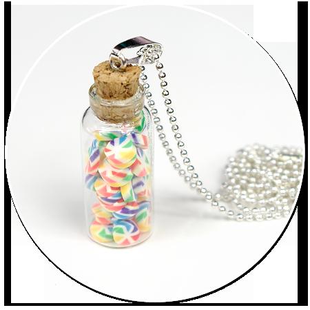 naszyjnik słoik z cukierkami