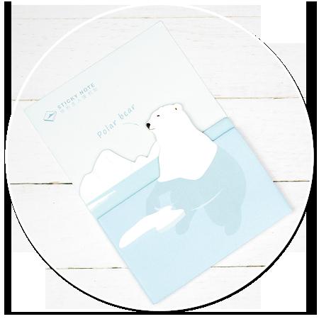 karteczki z misiem polarnym