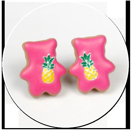 kolczyki wtykane kolorowe misie z ananasem