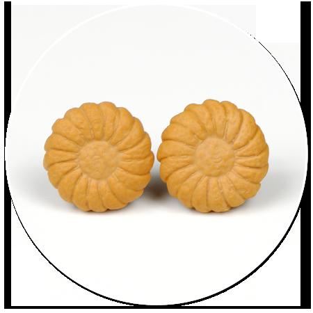 kolczyki okrągłe wtykane herbatniki