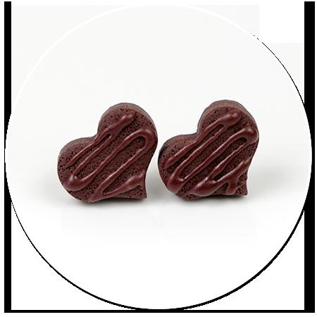 kolczyki wtykane czekoladowe serduszka