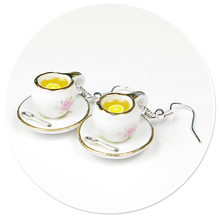 kolczyki białe filiżanki z herbatą nr 2