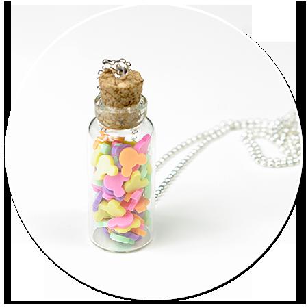 naszyjnik słoik z cukierkami myszkami