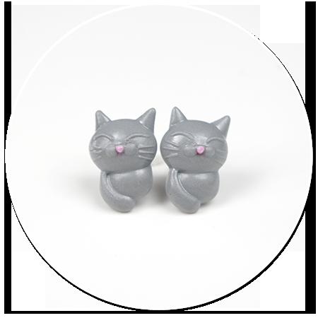 kolczyki wytkane koty