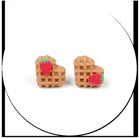 kolczyki mini gofry z truskawką