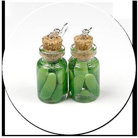 kolczyki słoik z ogórkami