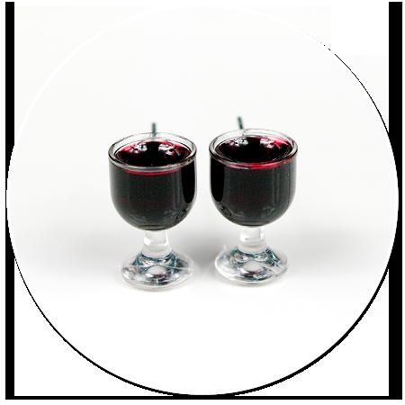 kolczyki wtykane kieliszki z czerwonym winem