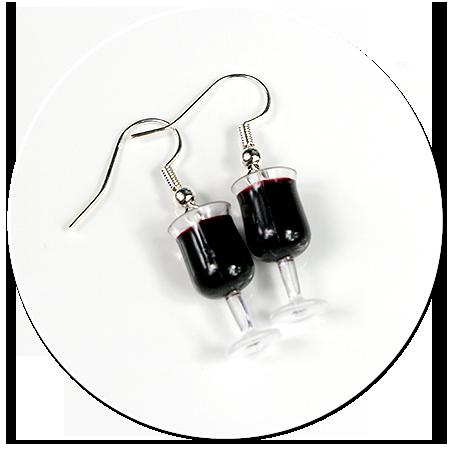 kolczyki kieliszki z czerwonym winem nr 6