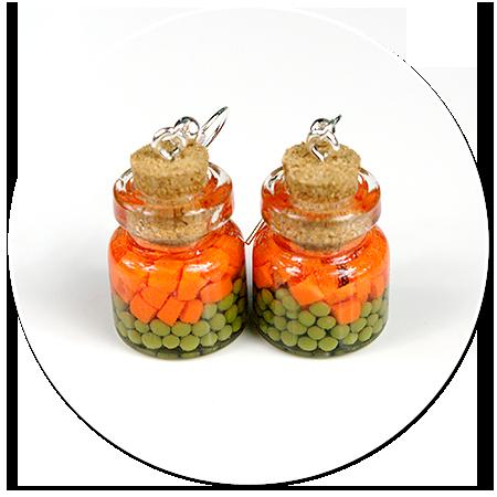 kolczyki słoik z marchewką z gorszkiem