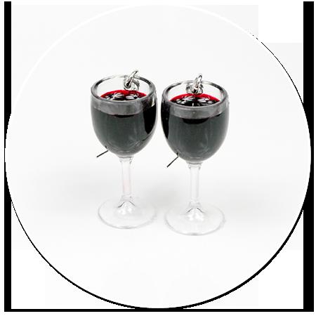 kolczyki kieliszki z czerwonym winem nr 2