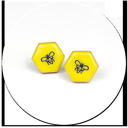 kolczyki wtykane z pszczołą nr 2