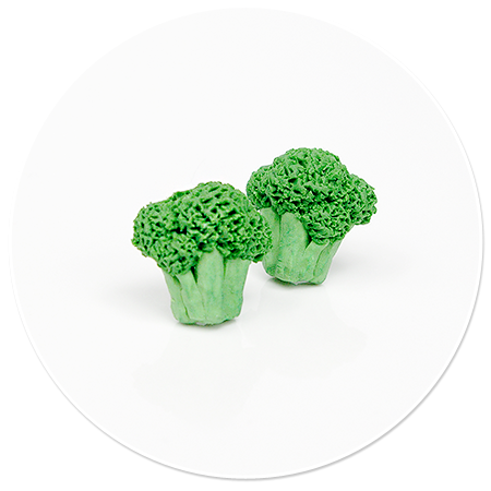 kolczyki wtykane brokuły