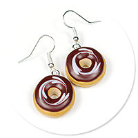 earrings donuts with chocolate