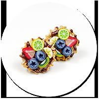 kolczyki wtykane gofry z owocami nr 3