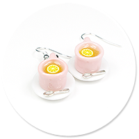 earrings cups with tea (pink)