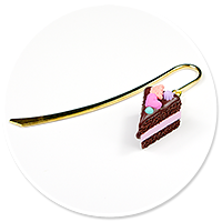 bookmark with chocolate cake