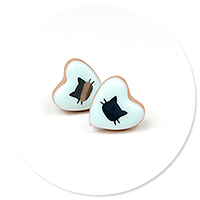plug-in earrings little hearts with cats no. 5