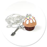 necklace chocolate cupcake with sprinkles