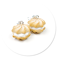 earrings cream puffs with whipped cream