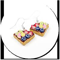 kolczyki gofry z polewą i owocami nr 6