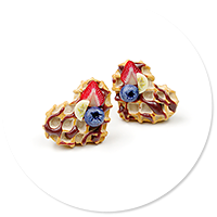 plug-in earrings waffles with friuts no. 11