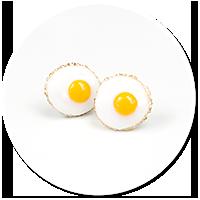 earrings fried eggs (plug-in)