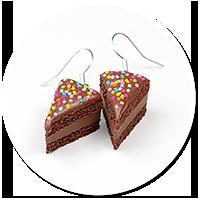 kolczyki tort czekoladowy z posypką nr 2