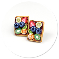 plug-in earrings waffles with friuts no. 6