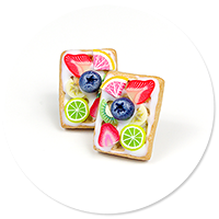 plug-in earrings waffles with friuts no. 12