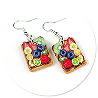 earrings waffles with fruits no. 7