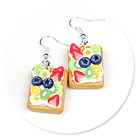 earrings waffles with whipped cream and fruits
