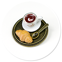 brooch of  tray with coffee and sweets no. 2