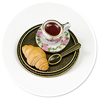 brooch of  tray with coffee and sweets no. 3