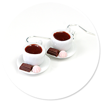 earrings cups with coffee (white)