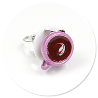 ring dark cup with coffee