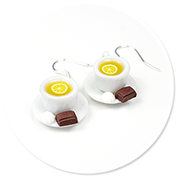 earrings cups with tea (white)