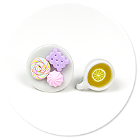 plug-in earrings tea with sweets no. 3