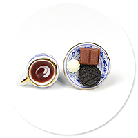 plug-in earrings coffee with sweets no. 3