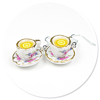 earrings cups with tea and lemon no. 2