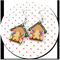 earrings christmas gingerbread houses