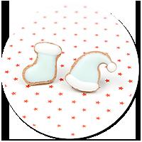 plug-in earrings cookie (cap and sock)