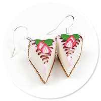earrings cheese cake (strawberry) no. 3