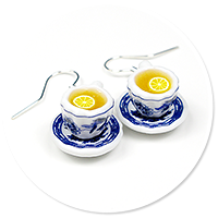 earrings cups with tea and lemon no. 3