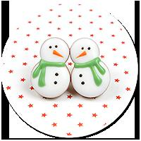 plug-in earrings snowmans no. 3
